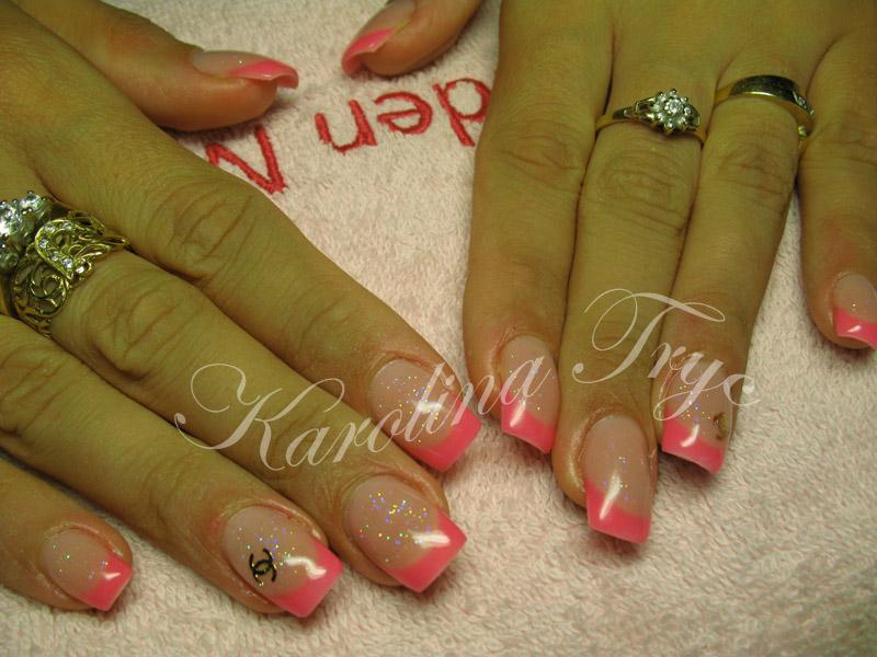 Beautiful Nail Art: Natural nails uv gel overlay - neon pink french