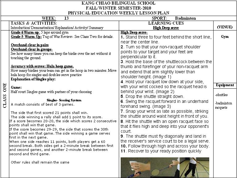 Physical Education Department: PE - Weekly Lesson Plans