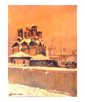 Original oil painting of Russian church in Moscow in the Winter