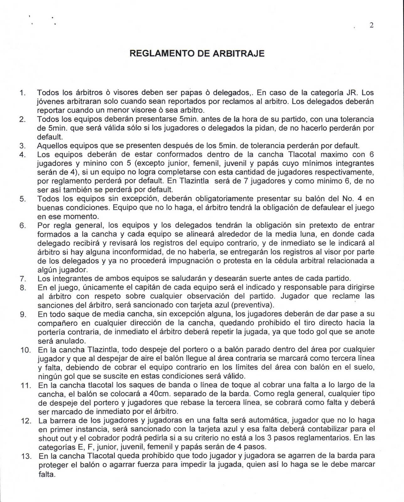 Reglamento de futbol cancha de coyuya for 5 reglas del futbol de salon