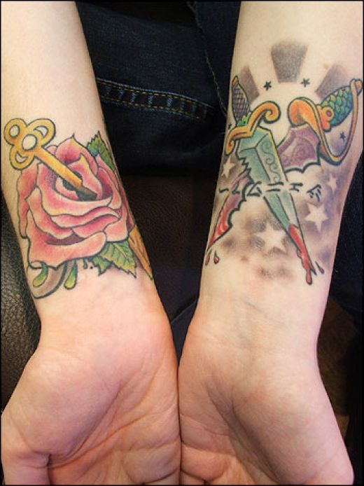 heart tattoos for girls on wrist. Love these two wrist tattoos,