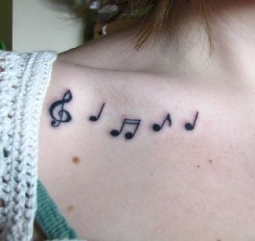 tattoos of music notes. music tattoos. i love music