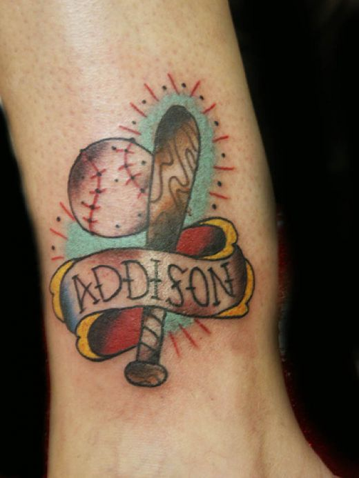 The sixth of my Cool Baseball Tattoos is this cool Addison baseball tattoo