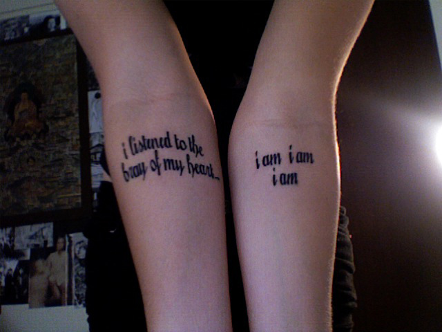 The seventh of my sayings tattoos for girls is this nice pair of arm sayings