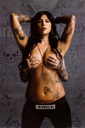 Chest tattoo woman no bra 3