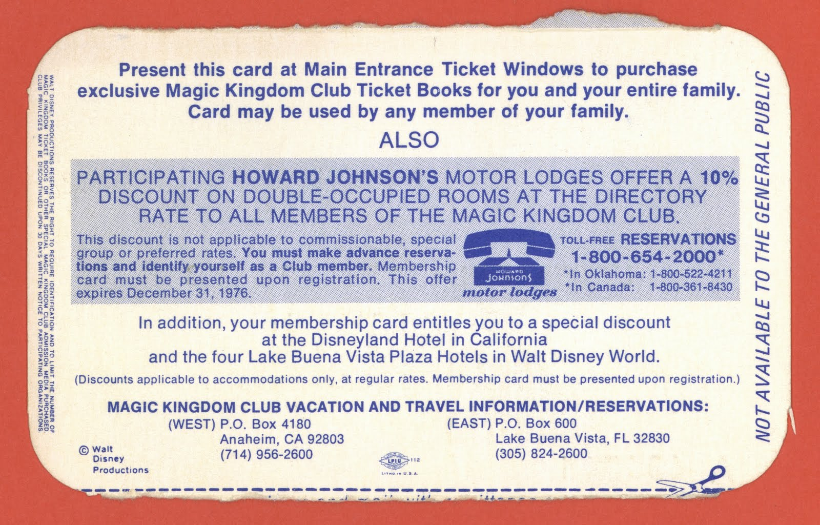 Magic Kingdom Club Membership Card   1976  Club Membership Card Template