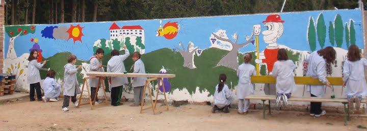 El mural es va omplint de color...