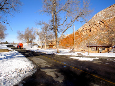Hot Springs State Park, snow removal in Thermopolis, Wyoming