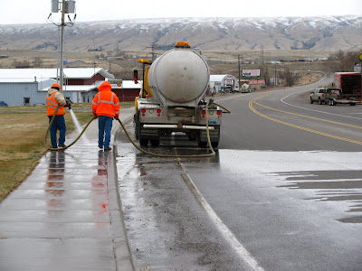 sidewalk cleaning in Thermopolis, Wyoming