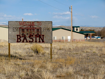 welcome sign, Basin, Wyoming