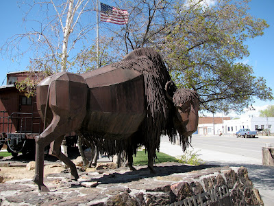 Buffalo statue, Grey bull, Wyoming