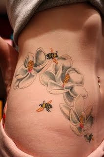 Honey Bee Tattoo, Flower tattoo
