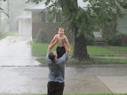 Daddy & Sean playing in the rain