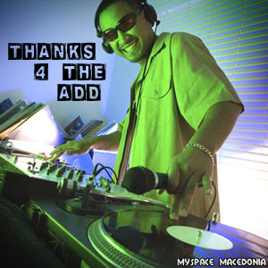 Thanks 4 The Add - DJ (electronic music, club, deejay, green, blue, disc jockey, mixer, headphones, turntables, microphone, gramophone, vinyl, record)