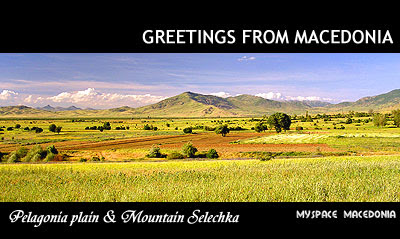 Greetings from Macedonia (Pelagonia plain & Selechka Mountain) (blue, sky, hills, orange, yellow, field)
