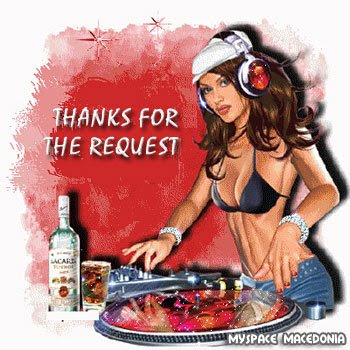Thanks For The Request - Lovely Female DJ (beautiful, sexy, disc jockey, deejay, music, red, pink, brown, blue)
