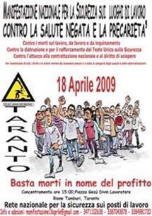18 aprile a Taranto: manifesto nazionale
