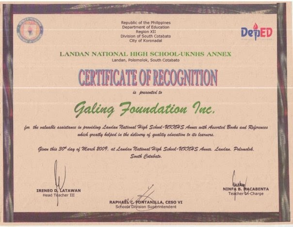 Galing foundation inc mindanao outreach certificate of galing foundation inc mindanao outreach certificate of recognition for gfi from lnhs yelopaper Gallery