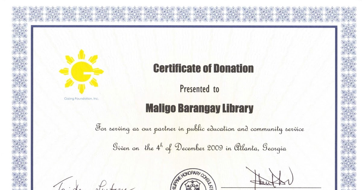 Galing Foundation Inc Mindanao Outreach Certificate Of Donation