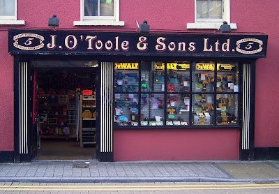 Photograph of old-fashioned hardware shop-front, Galway, Ireland.  J O'Toole and Sons Light Hardware.   Jackie O'Toole