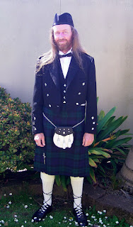 Scotsman in a kilt, while attending a wedding