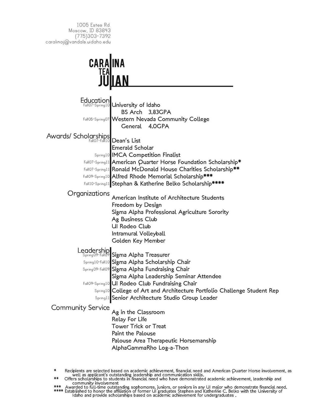 Sample Resume of GraduateStudent