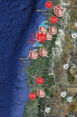 Map of Chilean Pulp and Paper Mills affected by February 2010 Earthquake, by Papermarket.cl / Mapa de fabricas de celulosa y papel afectadas por el terremoto en Chile, por Papermarket.cl / Gustavo Iglesias Trabado y Asociados / GIT Forestry Consulting, Consultoría y Servicios de Ingeniería Agroforestal, Lugo, Galicia, España, Spain / Eucalyptologics, information resources on Eucalyptus cultivation around the world / Eucalyptologics, recursos de informacion sobre el cultivo del eucalipto en el mundo