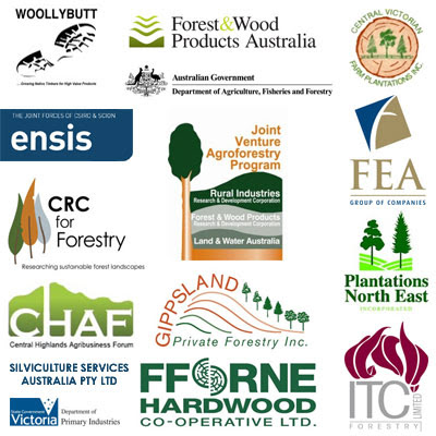 High Value Eucalyptus Plantations Conference Sponsors / CRC Forestry / Ensis the joint forces of CSIRO and Scion / Joint Venture Agroforestry Programme / Woollybutt Pty Ltd / FFORNE Hardwood Cooperative / FEA Forest Enterprises Australia / Plantations Northeast / Victoria Department for Primary Industries / ITC Forestry Ltd / Gippsland Private Forestry Inc / Forest and Wood Products Australia / Silviculture Systems Australia Pty Ltd / Central Victorian Farm Plantations Inc / Central Highlands Agribusiness Forum / Gustavo Iglesias Trabado / GIT Forestry Consulting, Consultoría y Servicios de Ingeniería Agroforestal, Galicia, España, Spain / Eucalyptologics, information resources on Eucalyptus cultivation around the world / Eucalyptologics, recursos de informacion sobre el cultivo del eucalipto en el mundo