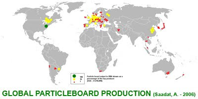 Global Particleboard Production Map 2006 by Anwar Saadat / Produccion Mundial de Tablero de Particulas de Madera en 2006, por Anwar Saadat / Gustavo Iglesias Trabado, Roberto Carballeira Tenreiro, Javier Folgueira Lozano / GIT Forestry Consulting, Consultoría y Servicios de Ingeniería Agroforestal, Galicia, España, Spain / Eucalyptologics, information resources on Eucalyptus cultivation around the world / Eucalyptologics, recursos de informacion sobre el cultivo del eucalipto en el mundo