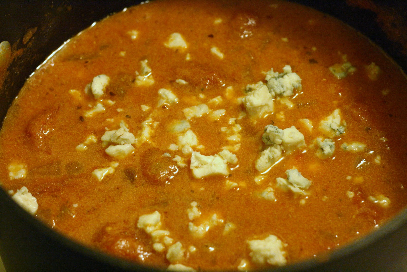 Laine's Recipe Box: Spicy Tomato and Blue Cheese Soup
