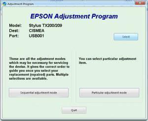 Resetter Epson TX200