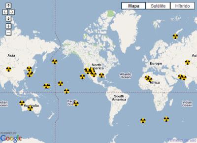 Mapa de pruebas nucleares