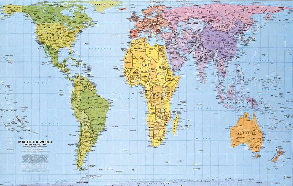 El mapa de Peters muestra todos los países ene su tamaño real y en ...