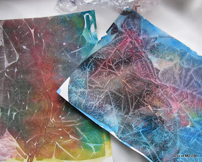 watercolors and saran cling  wrap