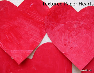 kids art easy valnetine's day hearts on textured paper