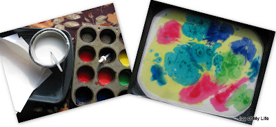 easy kids art paper marbling with cornstarch size and tempera paints