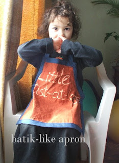 batik style dye and sew child apron