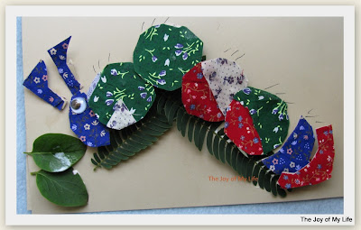 kids art fabric greeting card caterpillar butterfly