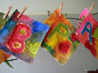 kids craft paste batik home-made happy birthday flag