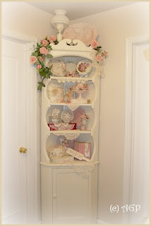 Bon ~SHABBY COTTAGE CHIC VINTAGE CORNER CABINET~. TRANSFORMATION IS COMPLETE