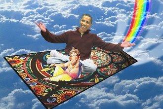 Obama on a magic carpet ride
