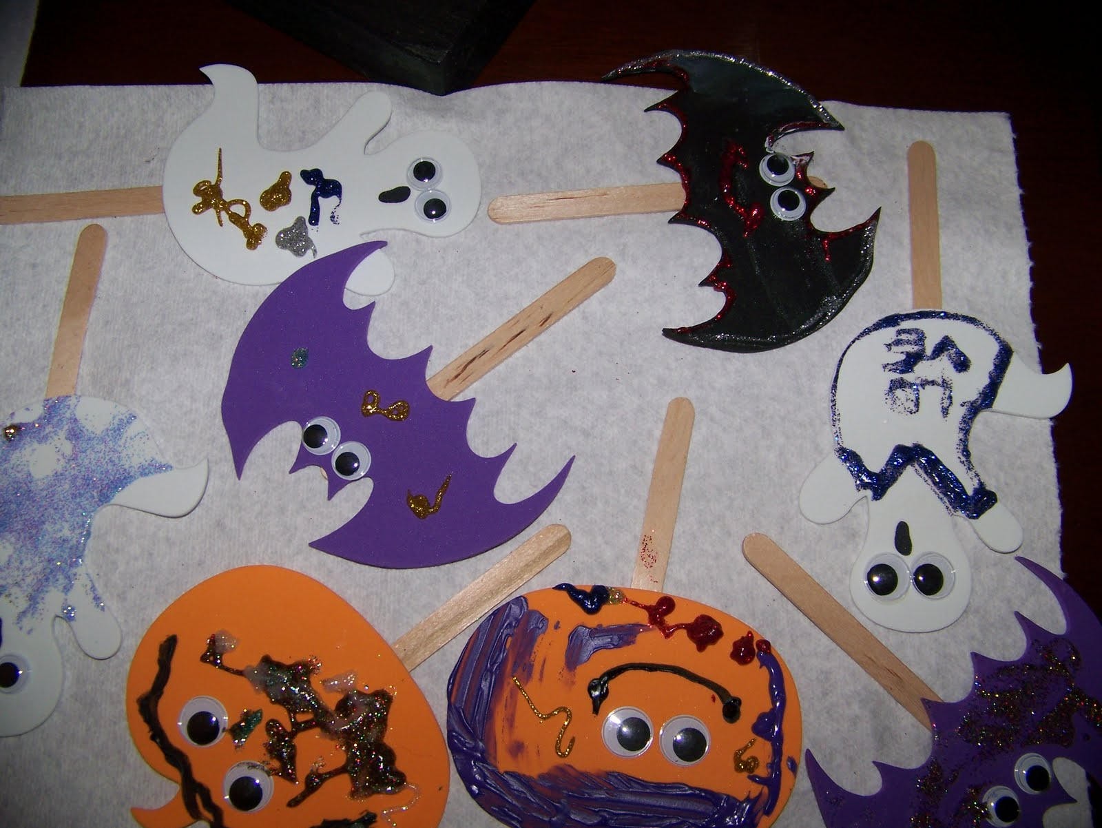 toddler activities for halloween foam puppets on popsicle sticks