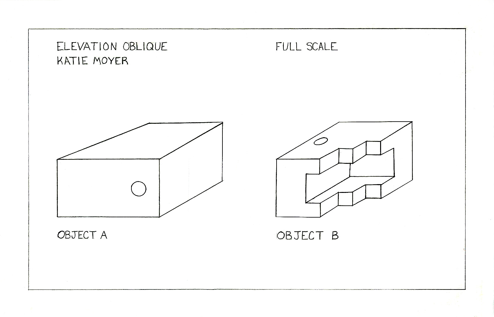 Plan Elevation Oblique : Katie s design drafting assignment object a b