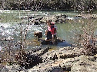 Molly, Sierra and Em in the Rapidan River, Perimeter Trail, Woodberry Forest School