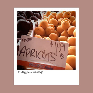 iPhone polaroid, apricots, farmer's market