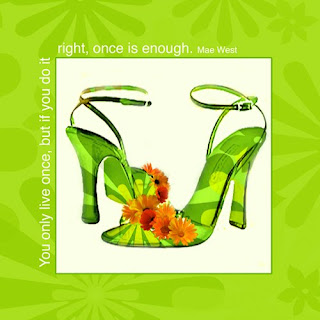May West, shoes, green, canvas wrapped giclee print