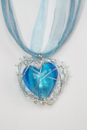 Blue wire wrapped heart