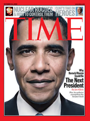 Barack Obama in Time Cover, No he become  a President