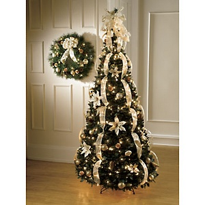 loving the champagne color - Already Decorated Christmas Trees