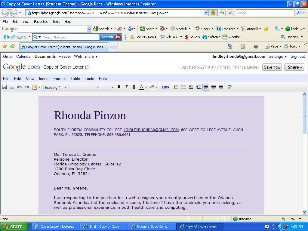 Cloud computing rhonda pinzon word processing cover letterresume i am amazed at how fast and easy this application makes creating a professional looking cover letterresume in just spiritdancerdesigns Choice Image